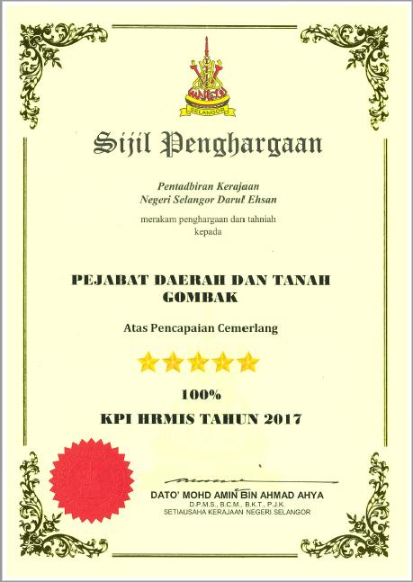 Portal Rasmi Pdt Gombak Sijil Penghargaan Gt Hrmis